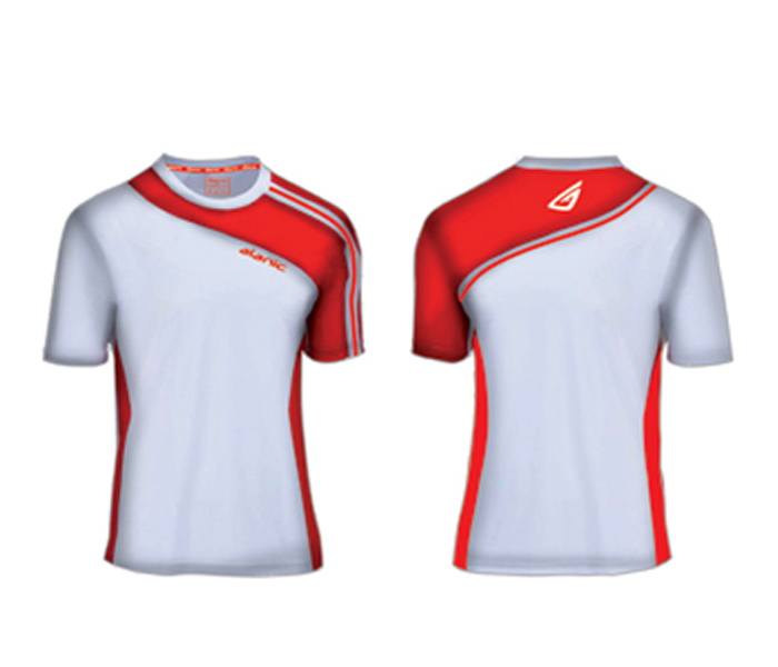 Wholesale White and Crimson Sports Shirt Manufacturer