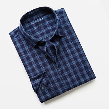 Blue Checked Slim-fit Casual Shirts