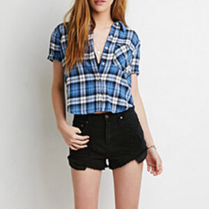 Wholesale Blue White and Black Check Crop Top Manufacturer