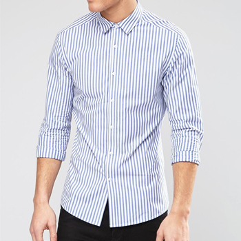 Wholesale Blue and White Pinstripe Shirt Manufacturer