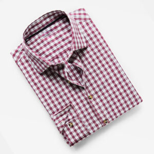 Casual Slim-fit Cotton Maroon Check Shirt