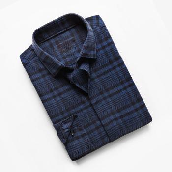 Dark Black & Blue Slim-fit Check Shirt