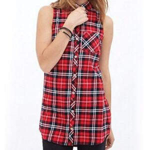 Wholesale Red and White Check Sleeveless Tunic Manufacturer