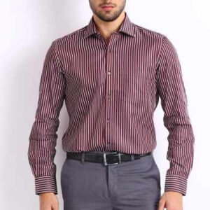 Wholesale Maroon and White Micro Stripe Shirt Manufacturer