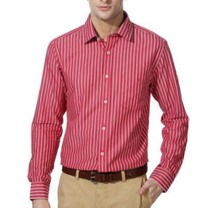 Wholesale Soft Red and white Micro Pin Stripe Shirt Manufacturer