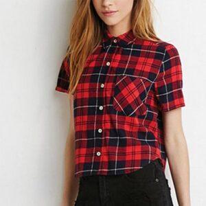 Wholesale Red and Black Short Flannel Shirt Manufacturer