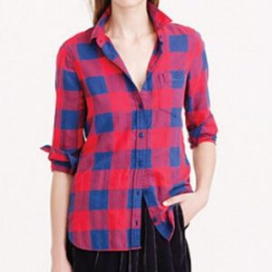 Wholesale Red and Blue Box Check Flannel Shirt Manufacturer