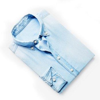 Slim-Fit Bleached Denim Shirt