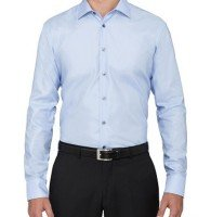 Solid Powder Blue Business Shirt Wholesaler