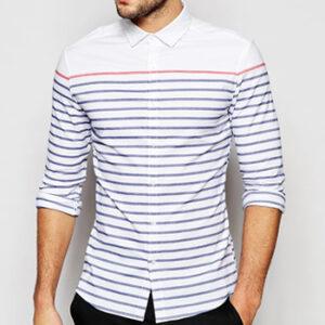 Wholesale Sleek White and Blue stripe Shirt Manufacturer