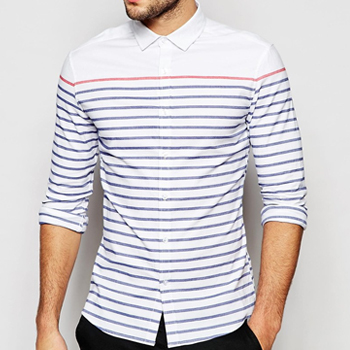 Wholesale Sleek White and Blue stripe Shirt Manufacturer