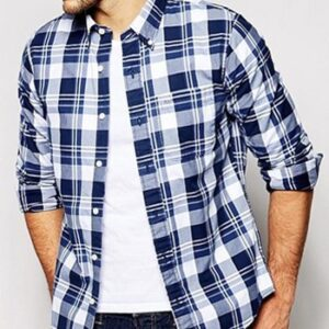 Wholesale White and Navy Blue Checked flannel shirt Manufacturer