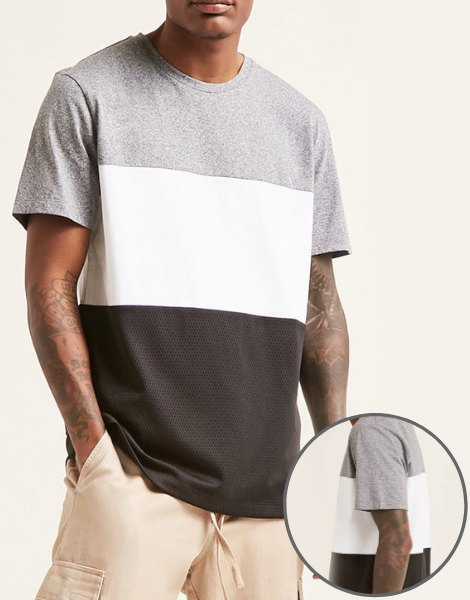 Wholesale anti-wrinkle colorblock tee shirt Manufacturer