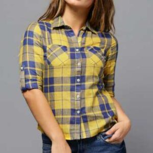 wholesale bulk blue and yellow checked shirts