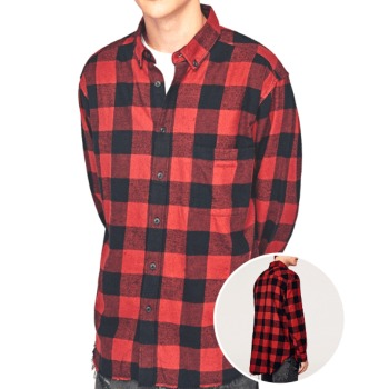 Wholesale Casual Color Block Grid Printed Flannel Shirt