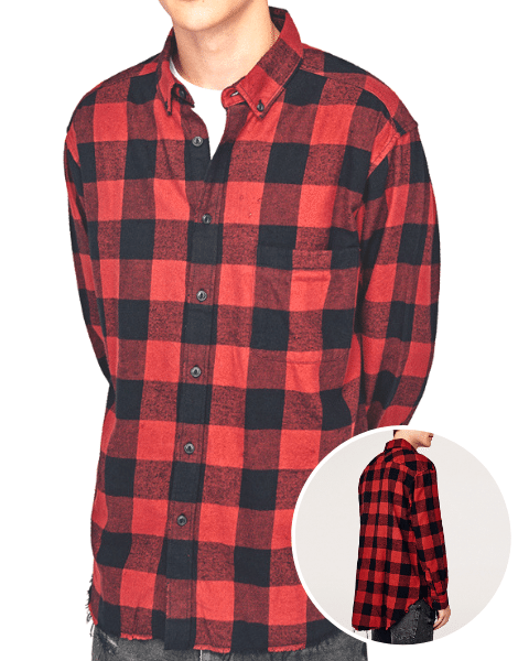 Wholesale Casual Color Block Grid Printed Flannel Shirt Manufacturers