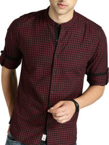 Slim-fit Cotton Maroon Check Shirt Manufacturer