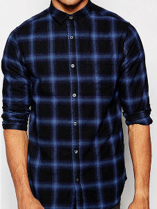 Dark Black & Blue Slim-fit Check Shirt Manufacturer