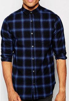 Dark Black & Blue Slim-fit Check Shirt Manufacturer