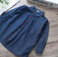Wholesale Dark Blue Denim Shirt for Girls Manufacturer