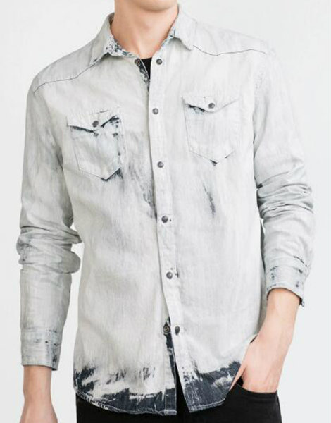 Faded White Denim Shirt Manufacturer