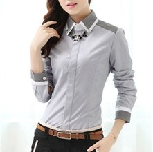 wholesale grey color block shirt for women Manufacturer