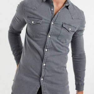 Light Ash Grey Denim Shirt Manufacturer
