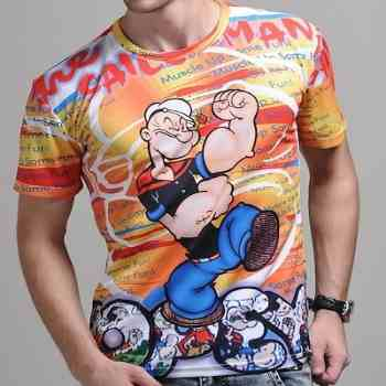wholesale muscular popeye 3d t-shirt supplier
