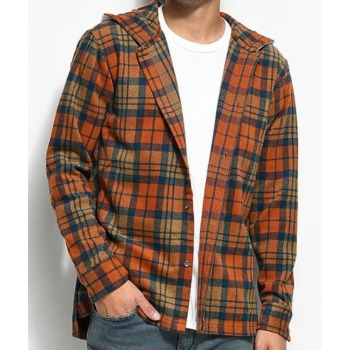 Wholesale Orange Colored Hooded Flannel Shirt