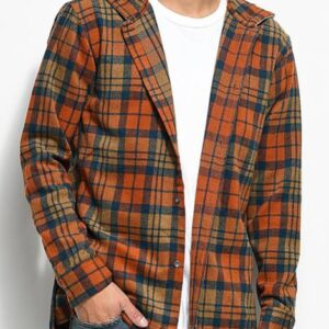 Wholesale Orange Colored Hooded Flannel Shirt Manufacturers