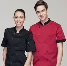 wholesale red and black uniform shirt set
