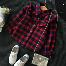 Wholesale Red Plaid Flannel Shirt for Girls Manufacturer