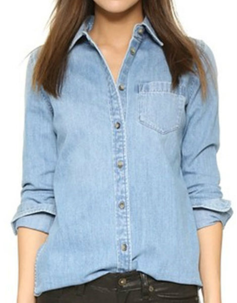 Slim-Fit Bleached Denim Shirt Manufacturer