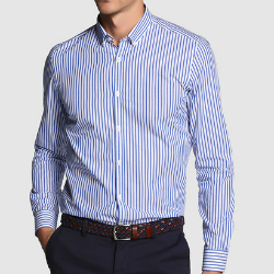 wholesale slim fit striped shirt in blue