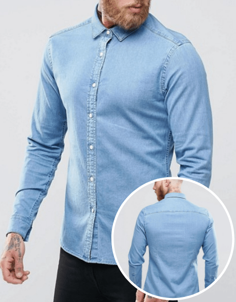 Wholesale Slim Size Light Blue Denim Shirts Manufacturer