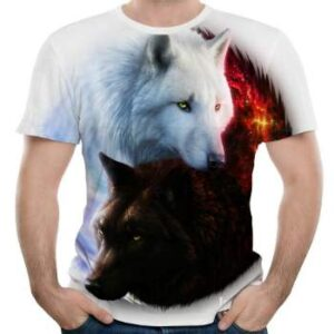 wholesale white wolf 3d t-shirt