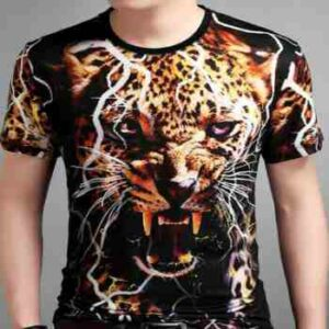 wholesale cheetah half sleeves 3d t-shirt manufacturer
