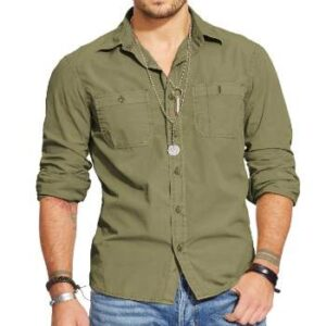 wholesale greenish denim shirts manufacturer