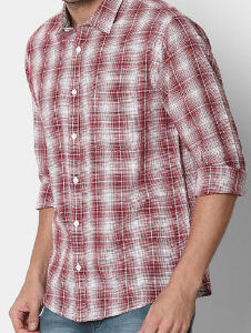 Maroon Checked Shirt Manufacturer