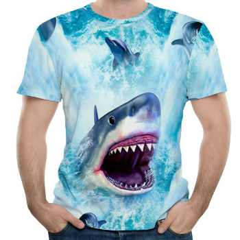 wholesale shark robot 3d t-shirts supplier