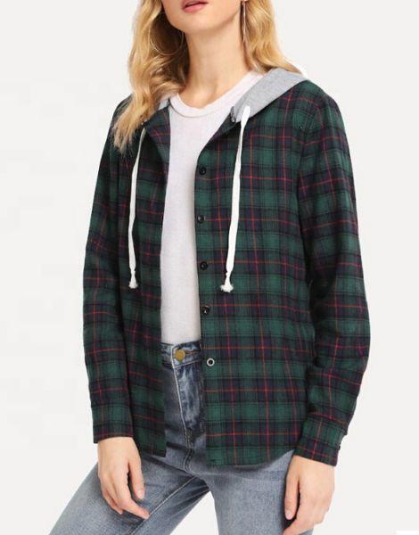 Custom Womens Multi Color Hooded Flannel Shirt