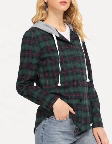 Wholesale Womens Multi Color Hooded Flannel Shirt Manufacturers