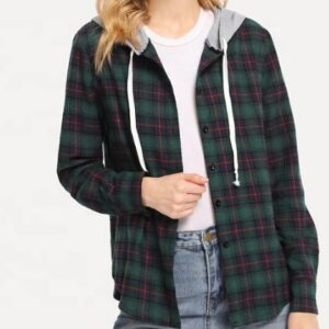 Custom Womens Multi Color Hooded Flannel Shirt