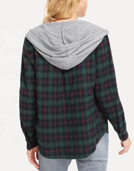 Wholesale Womens Multi Color Hooded Flannel Shirt