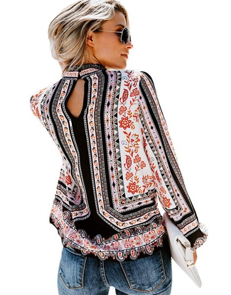 Custom Floral Printed Long Sleeve Women Tops