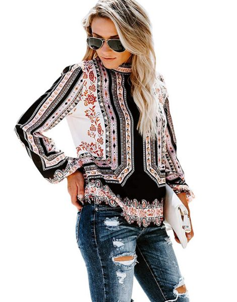 Floral Printed Long Sleeve Women Tops Manufacturers