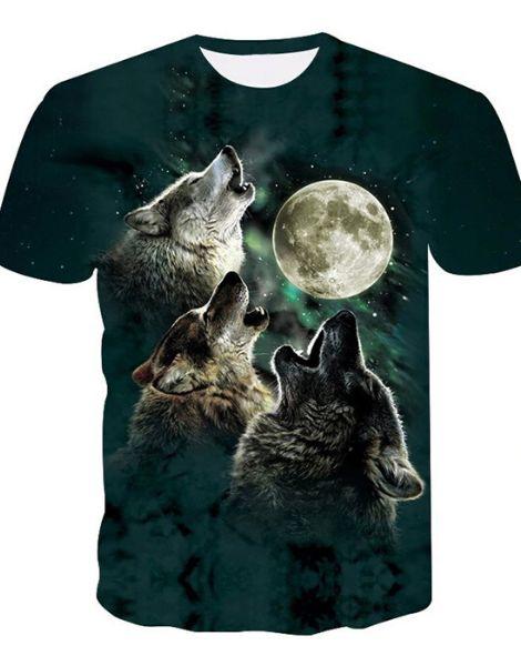 Custom 3D Wolf Printed Tshirt