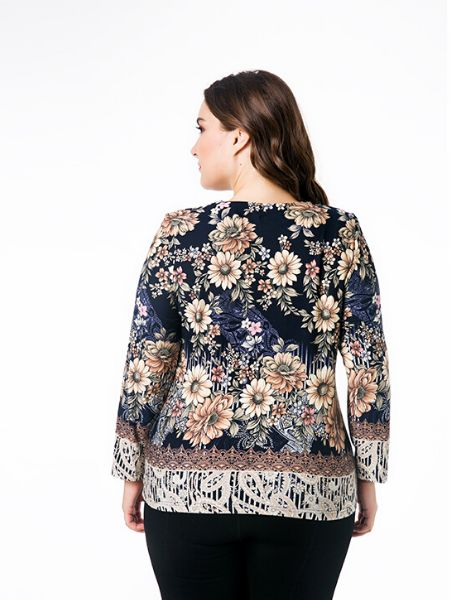 bulk floral printed plus size top with neckline strings