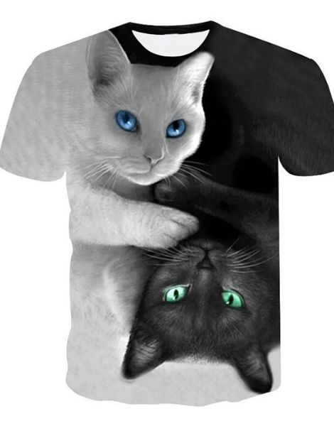 Bulk 3D Cat Printed Tshirt