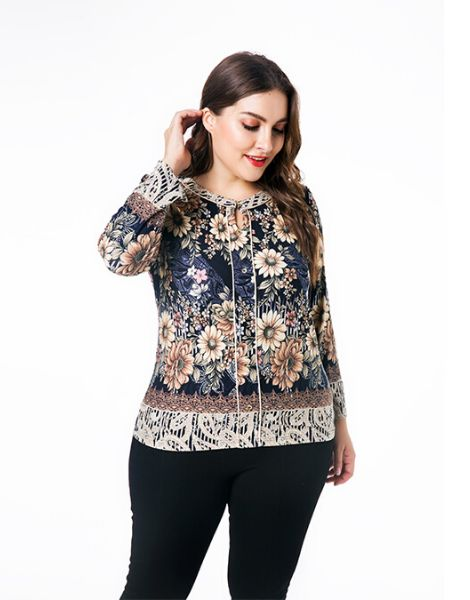 wholesale bulk floral printed plus size top with neckline strings